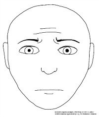 Anxious face line drawing
