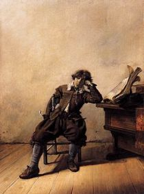 Painting by Pieter Codde of depressed young man