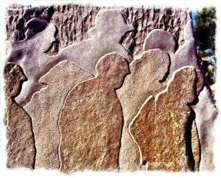 Relief carving of people in depression and despair