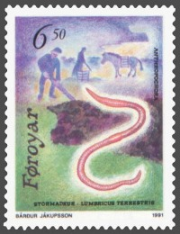 Image of postage stamp depicting an earthworm