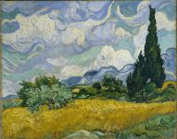 van Gogh painting Cypress with Wheat Fields