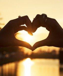 Image of light shining through heart shape