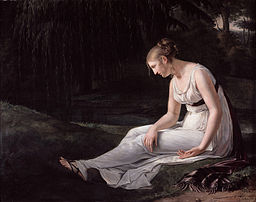 Painting of limp young woman