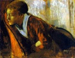Painting of depressed woman by Edgar Degas