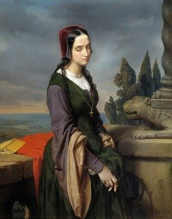 Painting of grieving woman